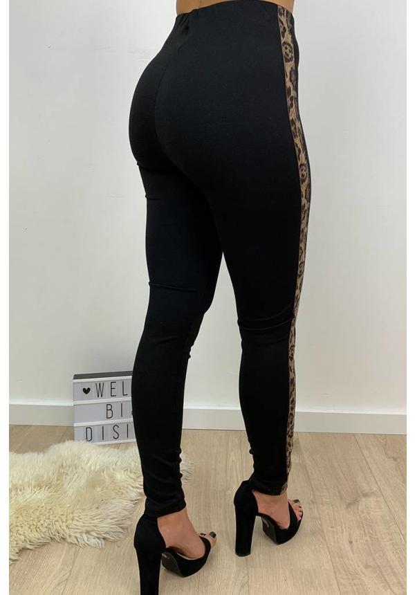 BLACK - LEOPARD STRIPED TREGGING PANTS