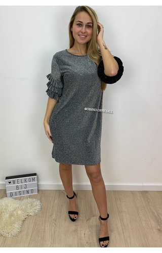 GLITTERLY SILVER - 'LAETITIA' - TRUMPET SLEEVE DRESS