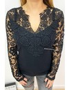 BLACK - 'EVIN' - CROCHET LACE SLEEVE TOP
