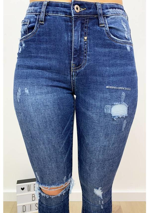 QUEEN HEARTS JEANS - MEDIUM BLUE - RIPPED SKINNY HIGH WAIST - 9170