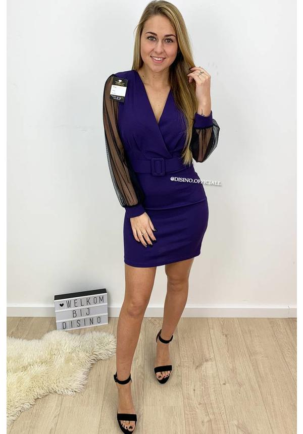 PURPLE - 'BRENDA' - BELTED MESH SLEEVE MIDI DRESS