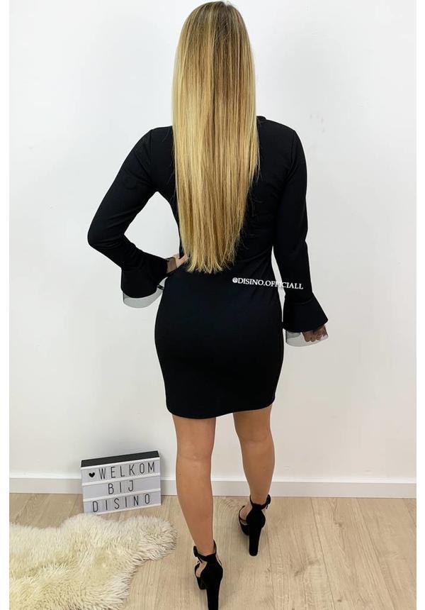 BLACK - 'LYDIA' - BELL SLEEVE BODYCON DRESS