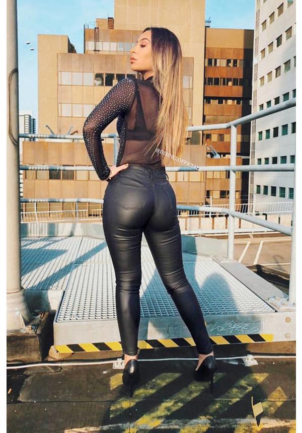 BLACK - 'ELISSA' - SPARKLE 'N MESH BODYSUIT