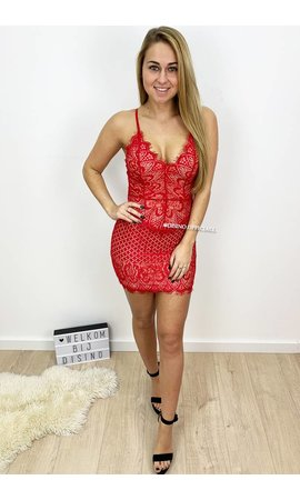 RED - 'KENDALL' - SEXY LACE DRESS