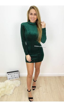 DARK GREEN - 'JANNY' - STRIPED VELVET MINI DRESS