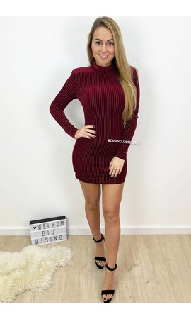 BURGUNDY - 'JANNY' - STRIPED VELVET MINI DRESS