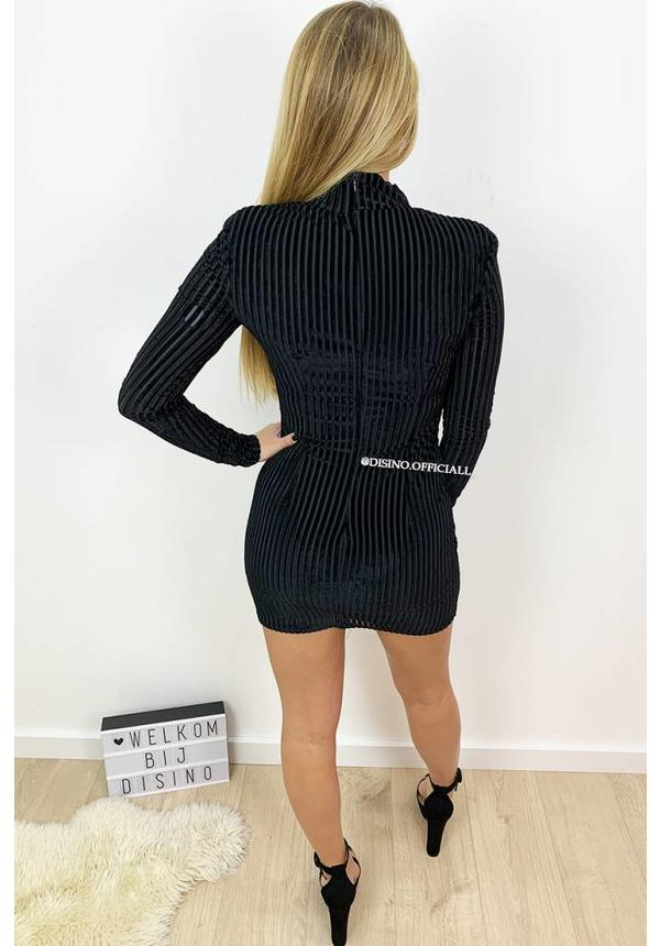 BLACK - 'JANNY' - STRIPED VELVET MINI DRESS