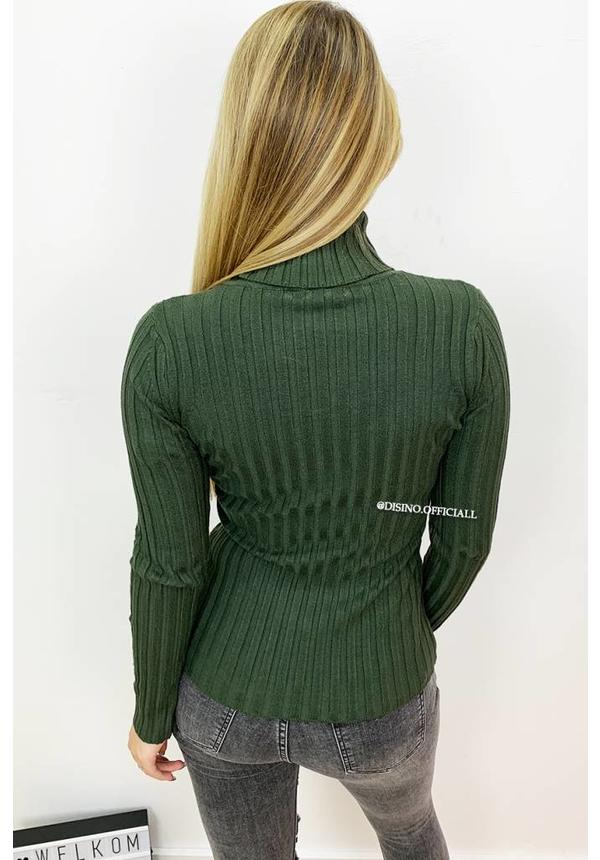 OLIVE GREEN - 'JANINE' - SOFT COTTON RIBBED COL