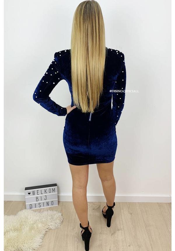 MIDNIGHT BLUE - 'PEARL' - VELVET PEARL DRESS