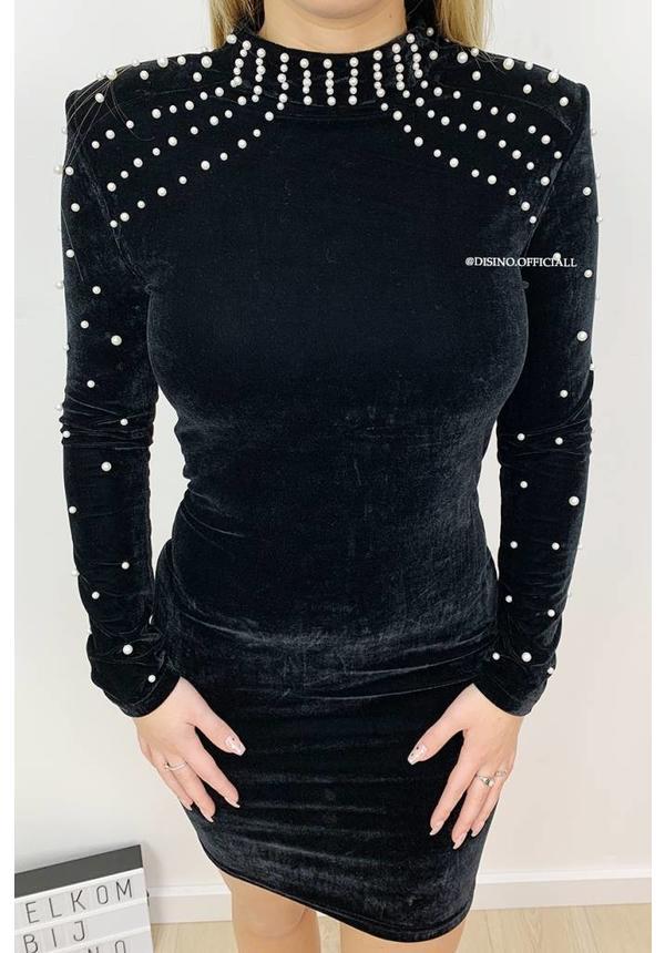 BLACK - 'PEARL' - VELVET PEARL DRESS