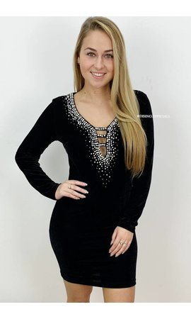 BLACK - 'ADELE' - VELVET PEARL 'N DIAMONDS V-DRESS