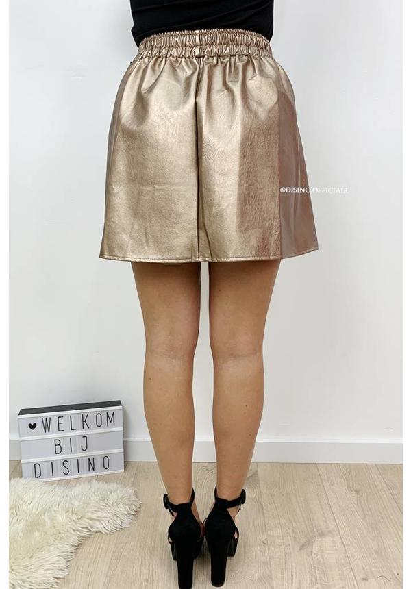 CHAMPAGNE - 'JANINE' - LEATHER LOOK SWING SKIRT