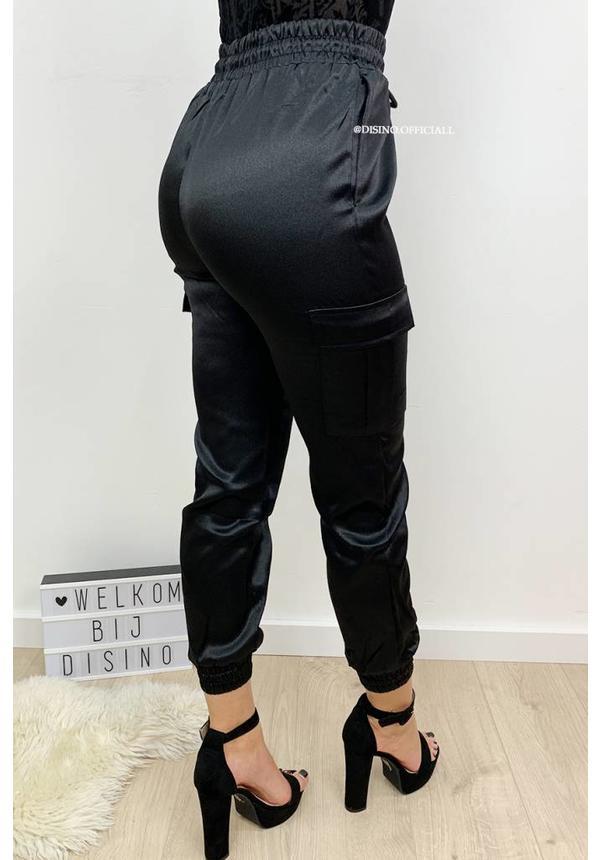 BLACK - 'SARINA' - LUXE SATIN LOOK CARGO PANTS