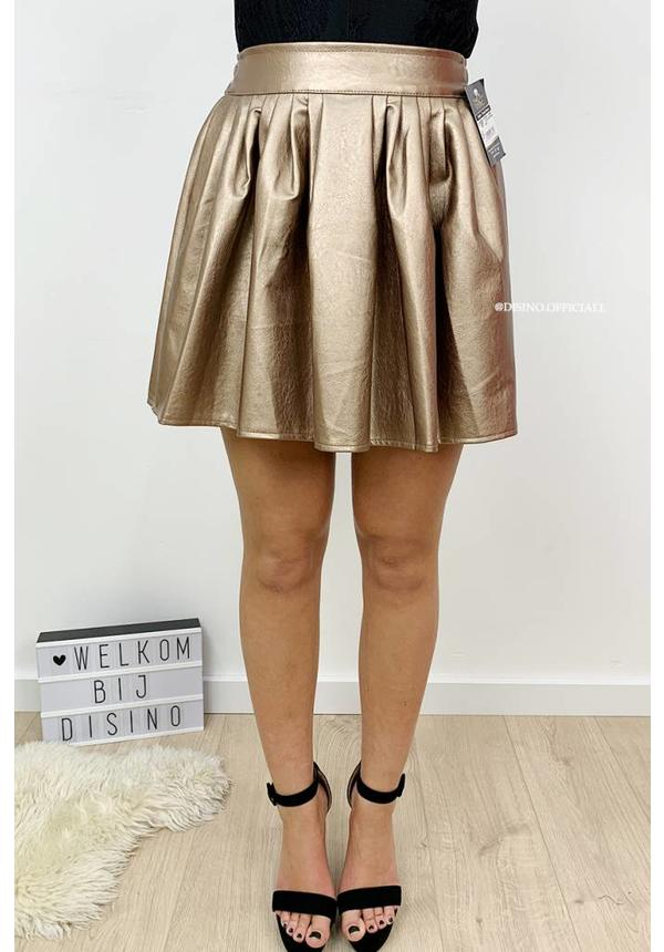 CHAMPAGNE - 'FLYNN' - LEATHER LOOK SWING SKIRT