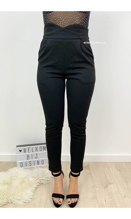 BLACK - 'CHRISSY' - CROSS OVER HIGH WAIST PANTS