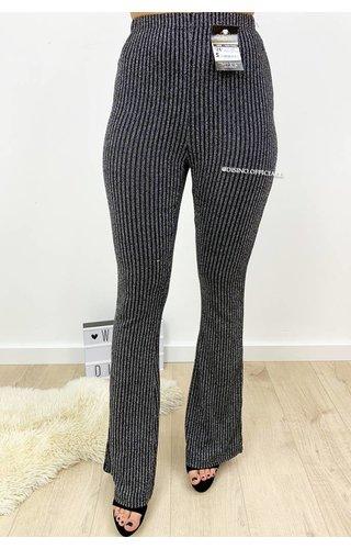 GLITTERLY BLACK - 'DAISY' - RIBBED SPARKLE FLARED PANTS