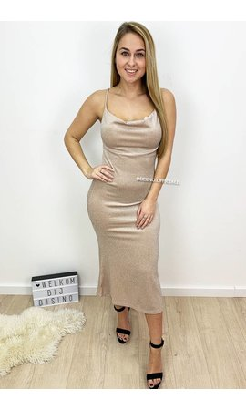 GLITTERLY NUDE - 'EYLEM' - COWL NECK MIDI DRESS