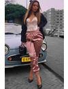 DUSTY PINK - 'SHARONA' - LUXE SATIN LOOK JOGGER PANTS