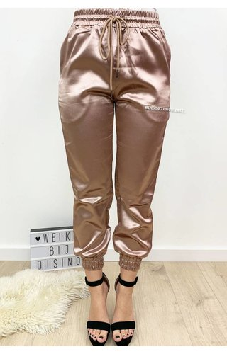 DUSTY PINK - 'SHARONA' - LUXE SATIN LOOK JOGGER PANTS