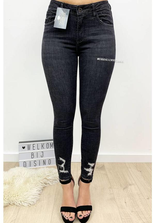 QUEEN HEARTS JEANS - DARK GREY - DISTRESSED SKINNY HIGH WAIST - 9530