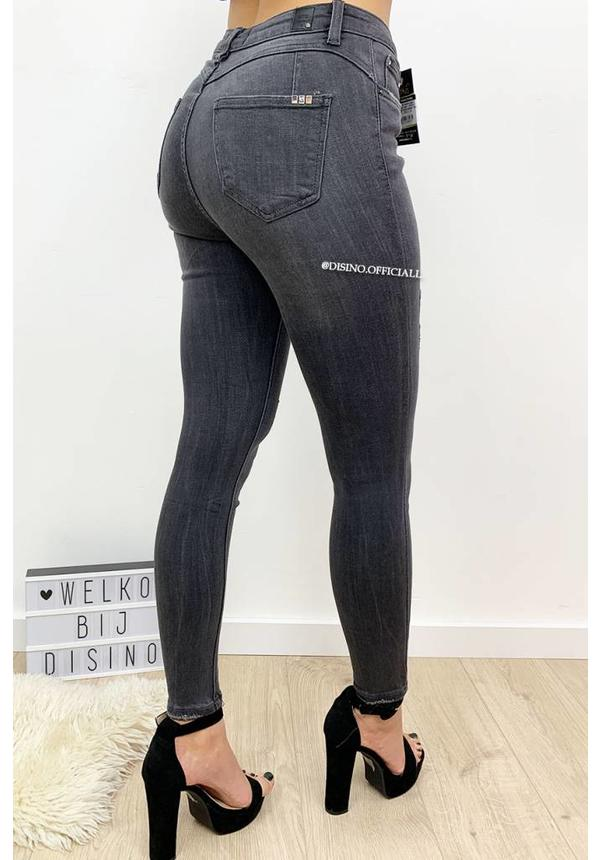 QUEEN HEARTS JEANS - DARK GREY - PERFECT DISTRESSED SKINNY PUSH UP - 9515