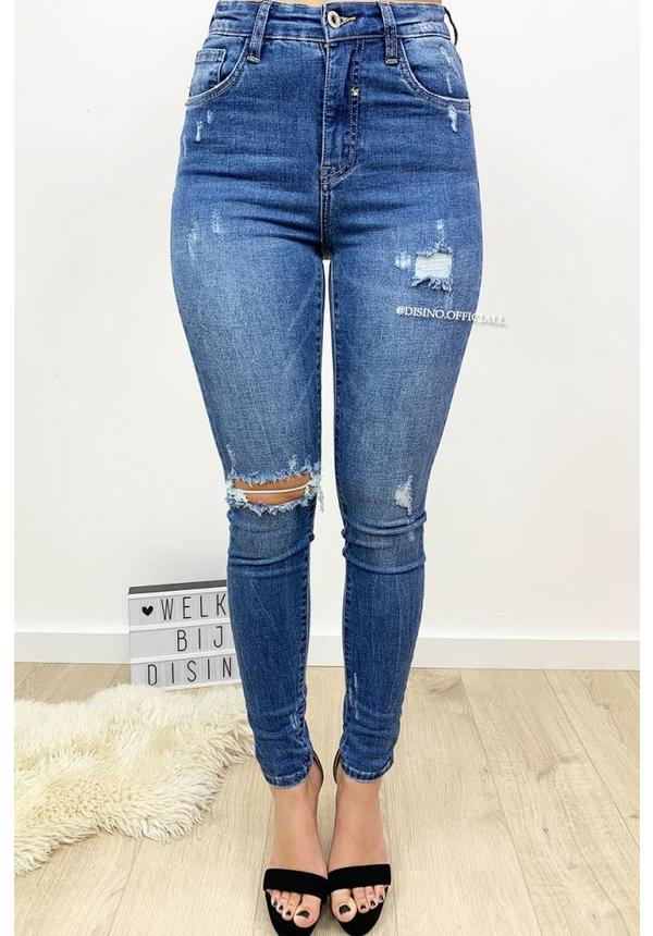QUEEN HEARTS JEANS - LIGHT BLUE - RIPPED SKINNY HIGH WAIST - 9170