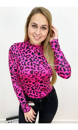 FUCHSIA - 'LAURA' - HIGH NECK LEOPARD PRINT BODYSUIT