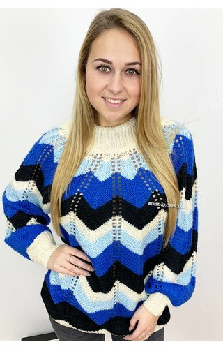 ROYAL BLUE - 'ZIGGY' - KNITTED OPEN BACK SWEATER