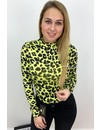 YELLOW - 'LAURA' - HIGH NECK LEOPARD PRINT BODYSUIT
