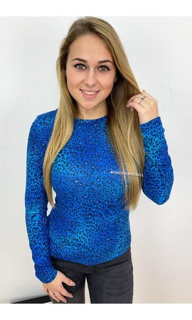 ROYAL BLUE - 'LARA' - SOFT TOUCH LEOPARD TOP