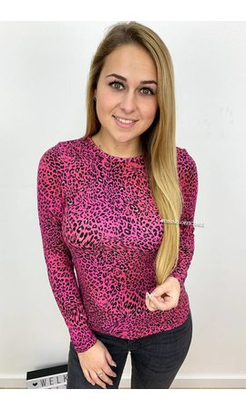 FUCHSIA - 'LARA' - SOFT TOUCH LEOPARD TOP