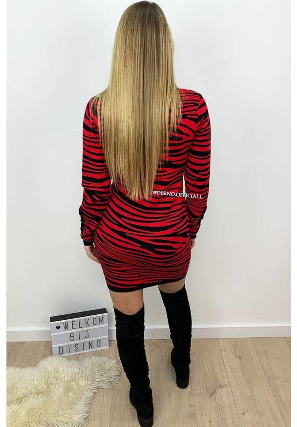 RED - 'TORI' - PREMIUM QUALITY TIGER STRIPE DRESS