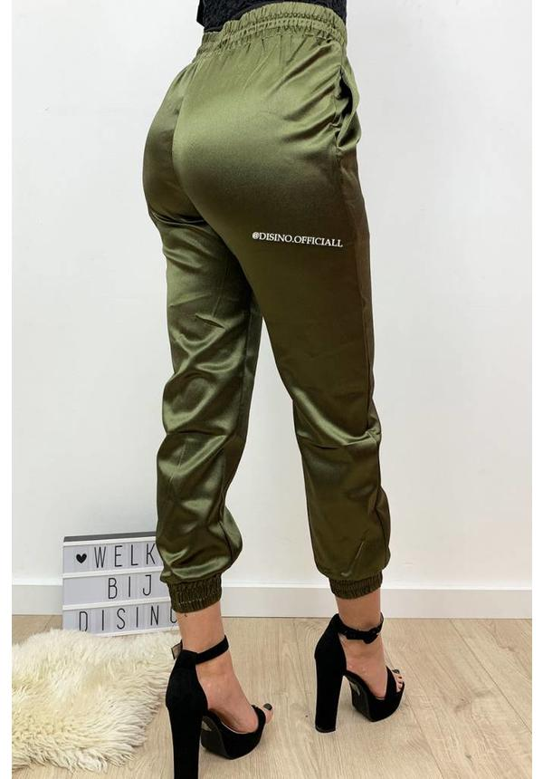 KHAKI - 'SHARONA' - LUXE SATIN LOOK JOGGER PANTS