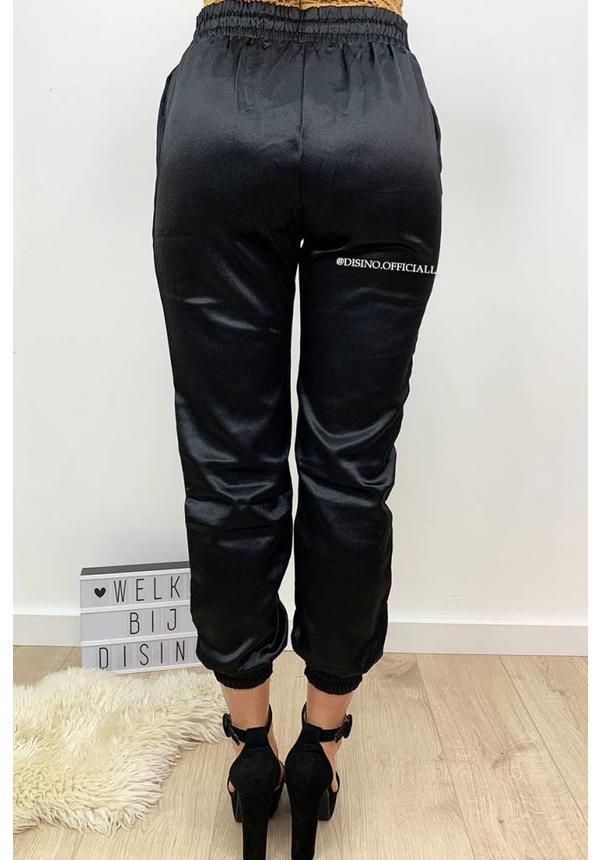 BLACK - 'SHARONA' - LUXE SATIN LOOK JOGGER PANTS