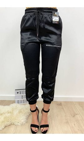 BLACK - 'SHARONA' - LUXE SATIN LOOK JOGGER PANTS