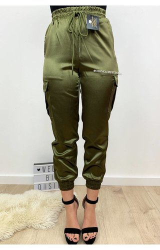 KHAKI GREEN - 'SARINA' - LUXE SATIN LOOK CARGO PANTS