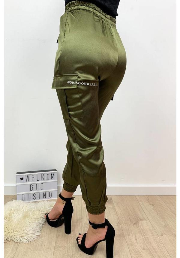 KHAKI GREEN - 'SARINA' - LUXE SATIN LOOK CARGO PANTS
