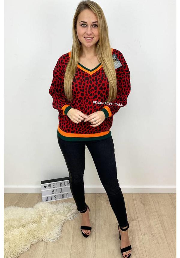 RED - 'LORY' - LEOPARD V-NECK SWEATER