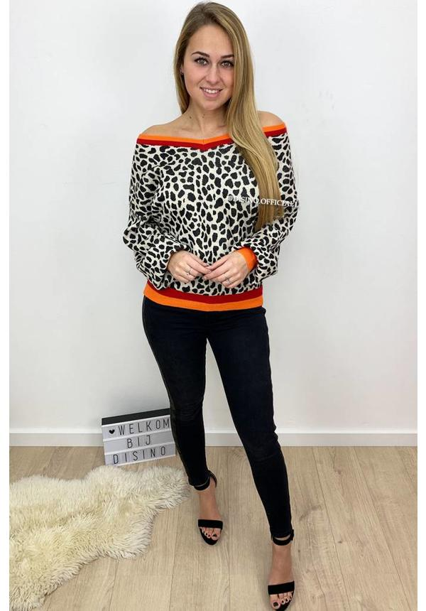 WHITE - 'LORY' - LEOPARD V-NECK SWEATER