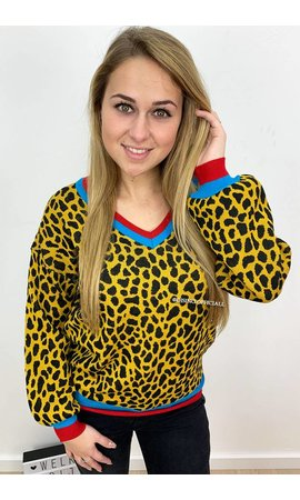 OCHER - 'LORY' - LEOPARD V-NECK SWEATER