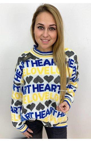 YELLOW - 'HEART LOVE' - OVERSIZED SOFT SWEATER