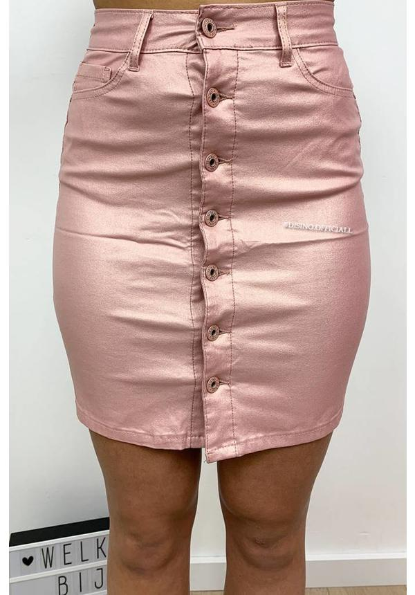 DUSTY PINK - 'WENDY' - WAX LOOK BUTTON UP SKIRT