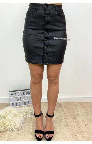 BLACK - 'WENDY' - WAX LOOK BUTTON UP SKIRT