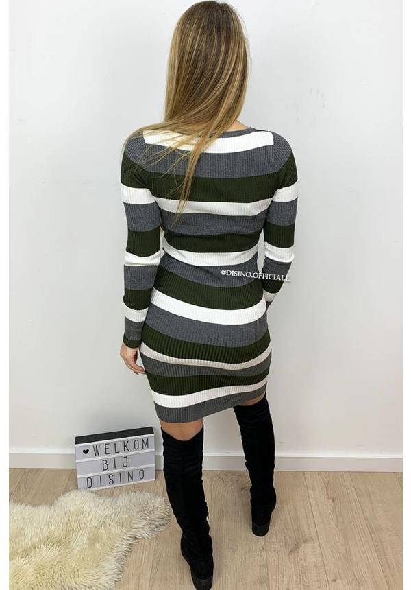 OLIVE GREEN - 'FENNA' - RIBBED STRIPED DRESS