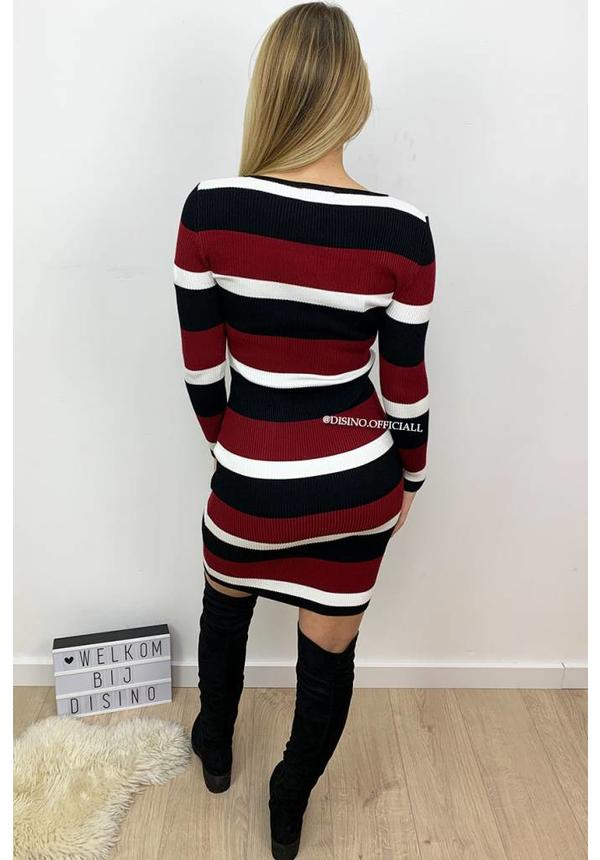 WINE - 'FENNA' - RIBBED STRIPED DRESS