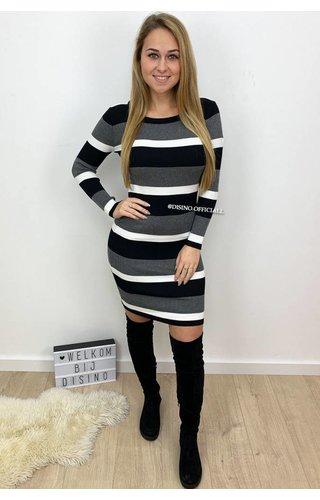 GREY - 'FENNA' - RIBBED STRIPED DRESS