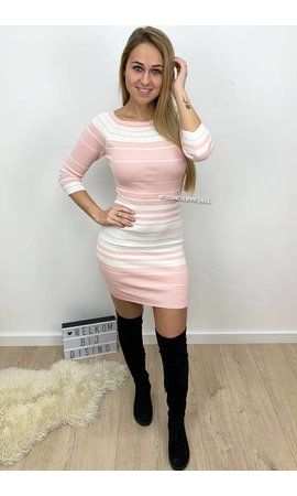 PINK - 'SERRA' - STRIPED OFF SHOULDER DRESS