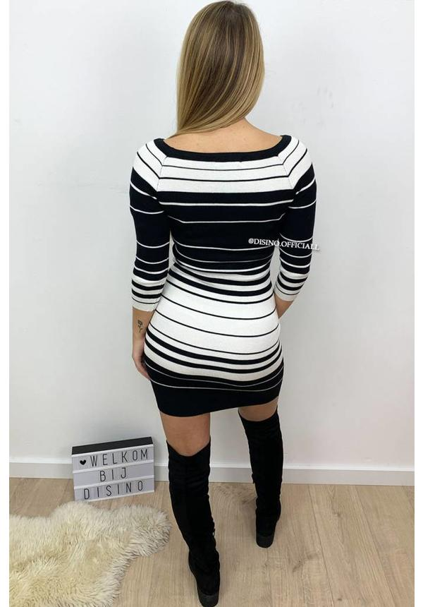 BLACK - 'SERRA' - STRIPED OFF SHOULDER DRESS