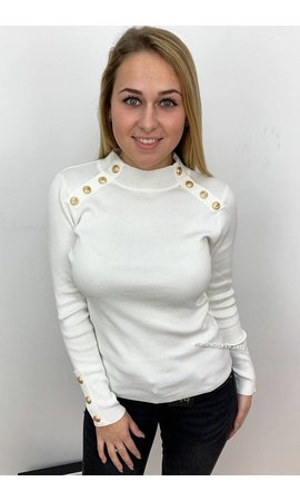 WHITE - 'GRACE' - GOLD BUTTON RIBBED TOP