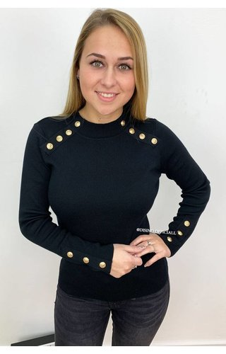 BLACK - 'GRACE' - GOLD BUTTON RIBBED TOP